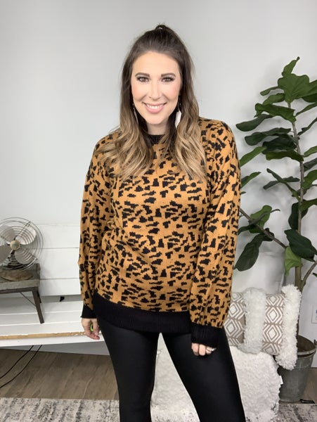Taupe and Black Leopard Sweater