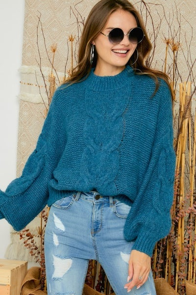 Ocean Blue Cable Knit Puffy Sleeve Sweater