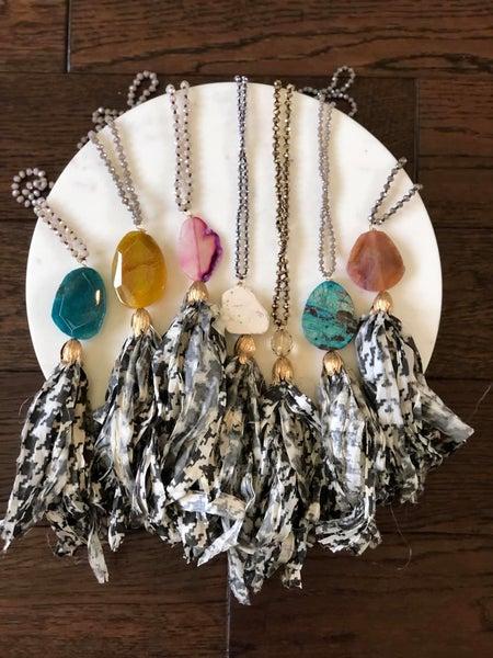 Pattern Silk Tassel Necklaces