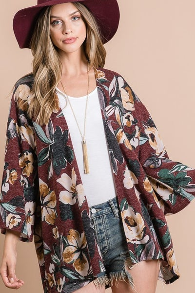 Taupe Floral Cardigan