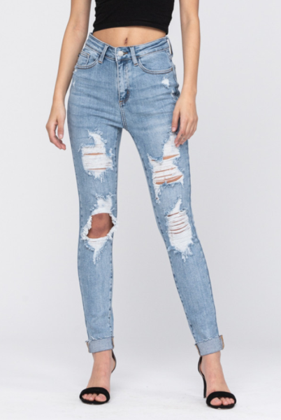 Medium Deestroyed High Waisted Skinny Cuffed Jeans