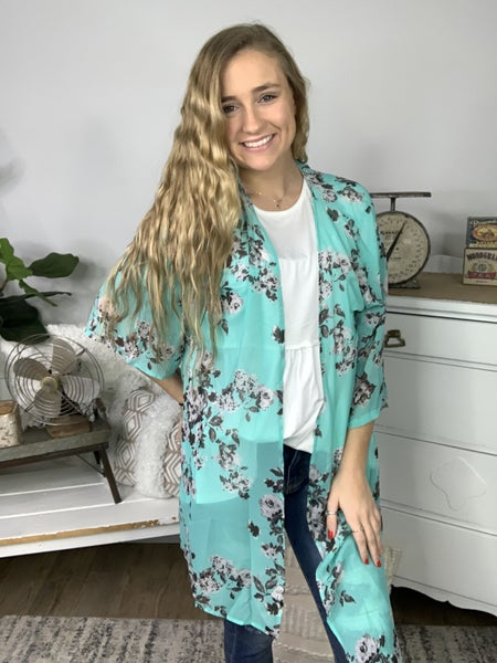 Mint In Love Floral Cardigan