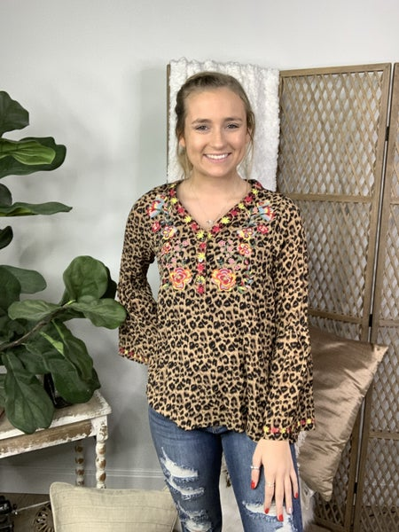Brown Leopard Printed Long Ruffle Sleeve Embroidered Front Top