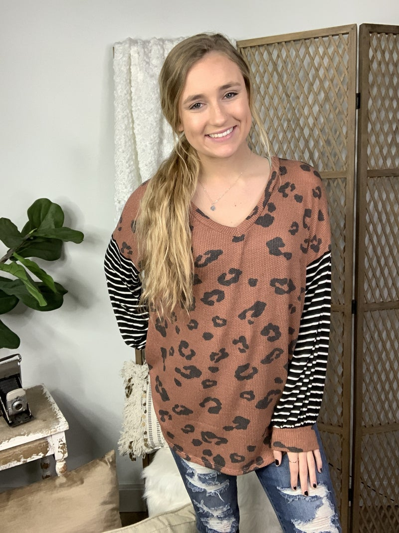 Rust and Grey Animal Print with Striped Sleeve Top *Final Sale*
