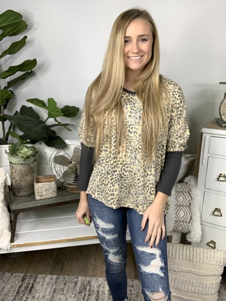 Taupe and Grey Top *Final Sale*