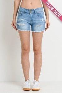 Medium Wash 2 Button Distressed Push Up Shorts