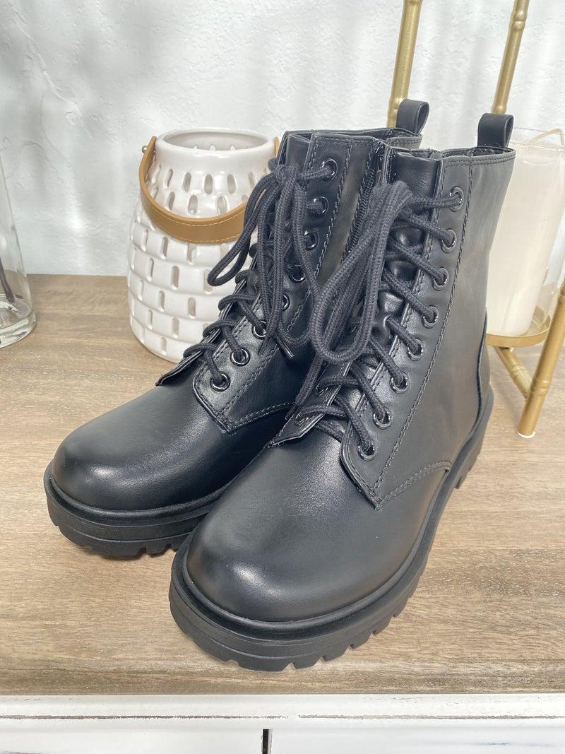 Black Tie-Up Combat Boot