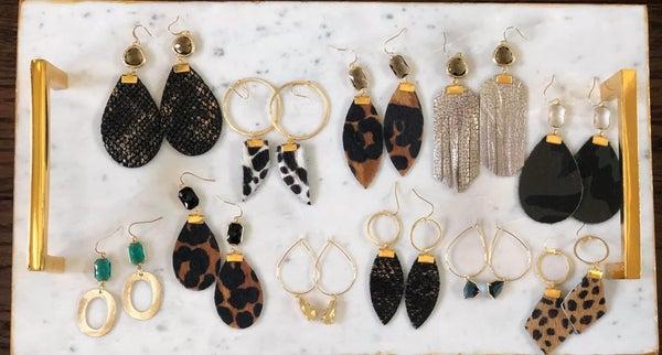 Leather & Gemstone Earrings