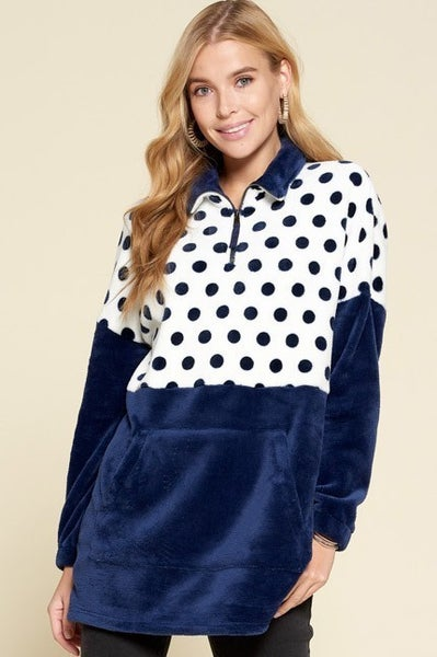 Navy Pullover with Contrast Dotted Panels