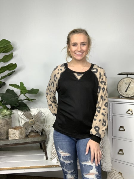 Black Solid Knit Top with Cheetah Print Trim and Puff Sleeve *Final Sale*
