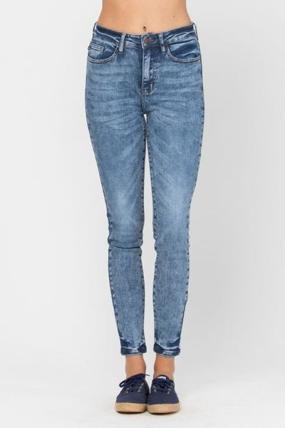 Medium High Waist Acid/Mineral Wash Skinny Jean