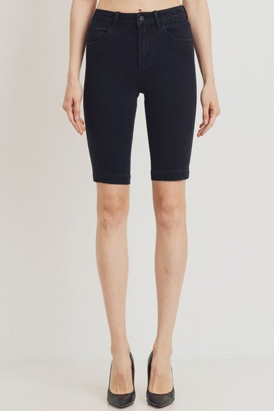Black Mid Rise Biker Shorts