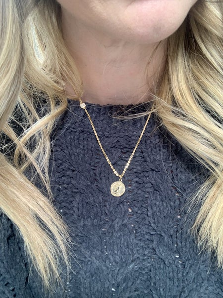 Coin and Side Accent Necklace *Final Sale*