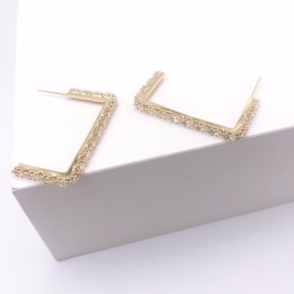 Small Rectangle Crystal Hoop Earrings *Final Sale*