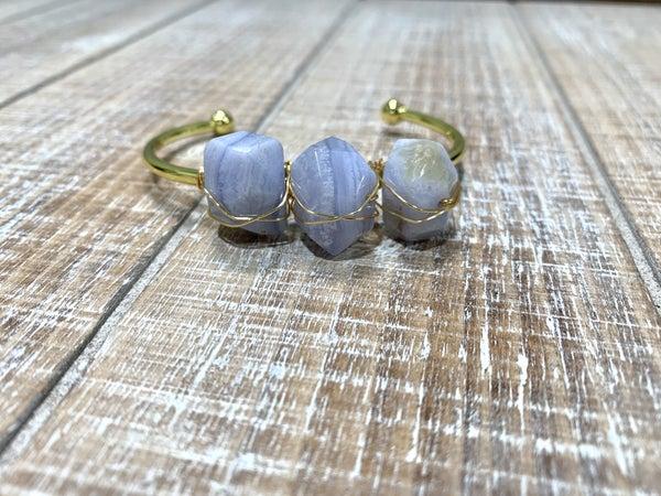 Periwinkle 3 Stone Cuff *Final Sale*