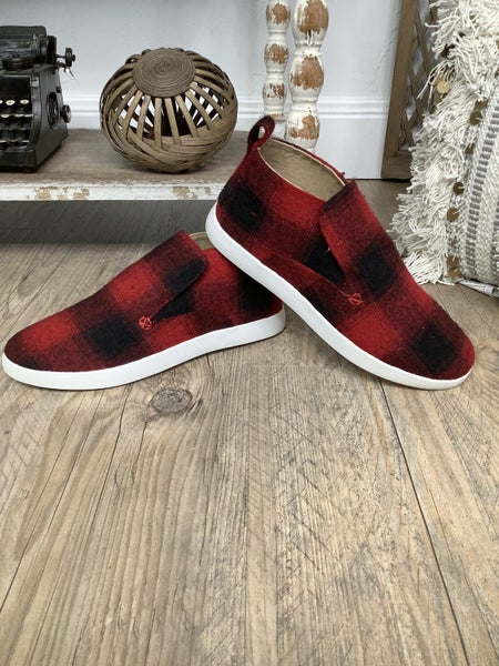 Red Plaid Slip On Canvas Shoe