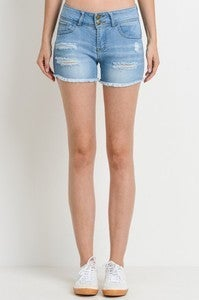 Light 2 Button Distressed Push Up Shorts