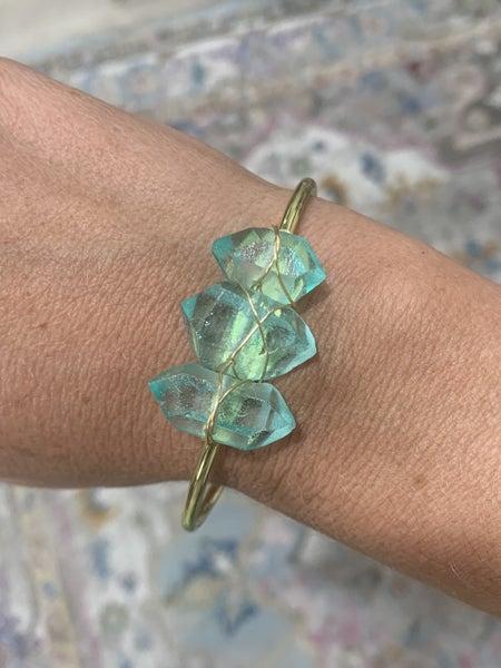 Aqua 3 Stone Cuff *Final Sale*