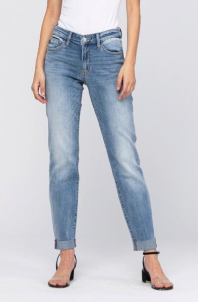 Judy Blue Mid-Rise Raw Cuff Boyfriend Jeans