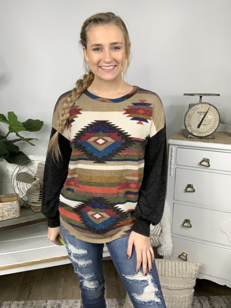 Rust Multi Color Aztec Long Sleeve Top