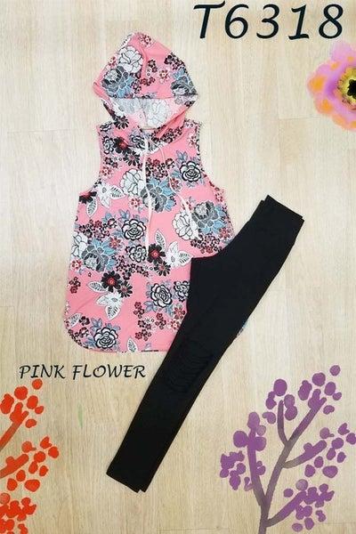 Pink Flower Sleeveless Hoodie Top *Final Sale*