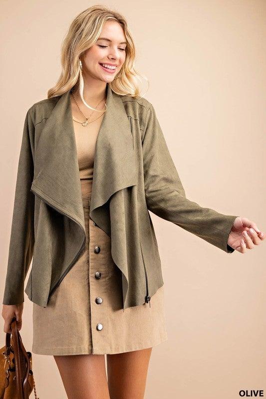 Olive Faux Suede Drop Zipper Detail Jacket