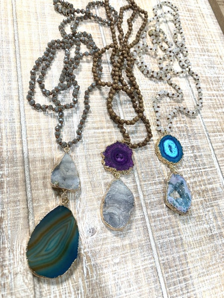 Long Beaded 2 Tiered Stone Necklace *Final Sale*