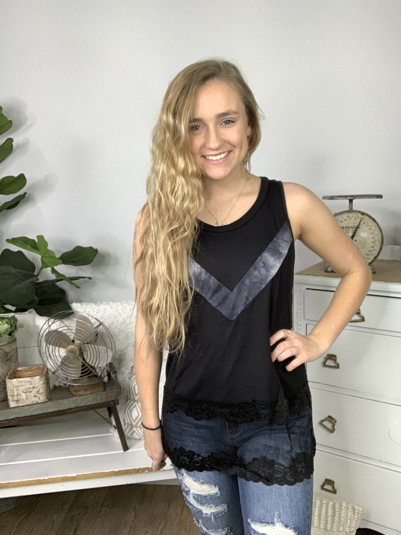 Black Sleeveless Tunic Lace Detail Top with Chevron Stripe