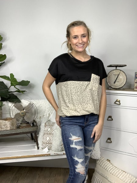 Taupe Cheetah and Black Color Block Top *Final Sale*