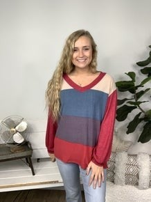 Red and Teal Wide Striped Top *Final Sale*