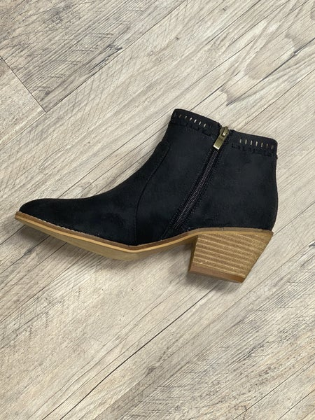 Black Faux Leather Ankle Height Boot *Final Sale*