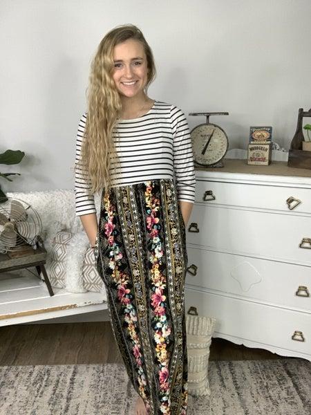 Black Stripe and Floral Print Maxi Dress