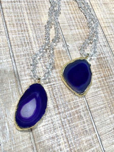 Clear Beaded Druzy Necklace *Final Sale*