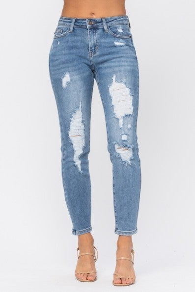 Destroyed Large Holes Relaxed Fit Jeans