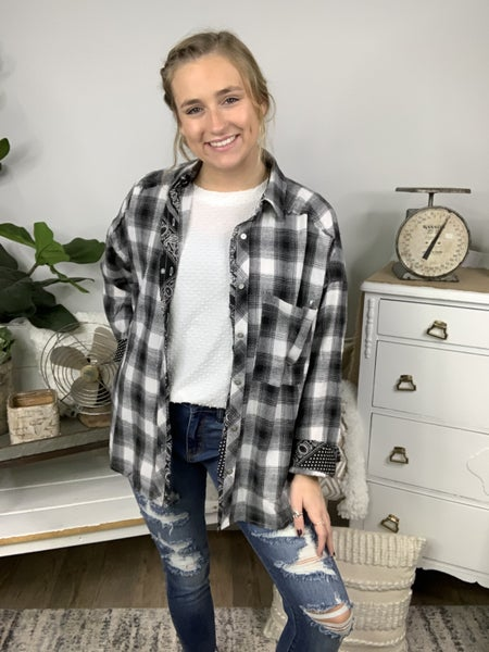 Grey Head Over Plaid to Paisley Oversize Shirt