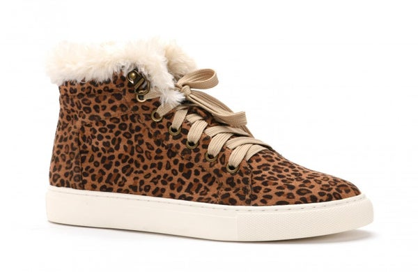 Small Leopard Print Lace Up with Fur  Boots *Final Sale*