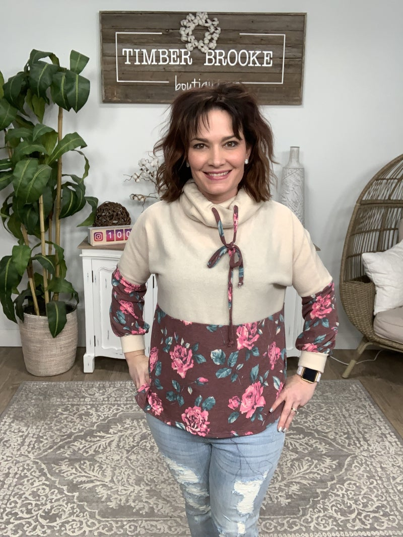 Ivory and Burgundy Floral Contrast Cowl Neck Top *Final Sale*