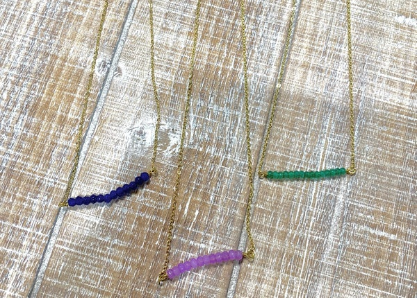 Small Bar Beaded Necklace *Final Sale*