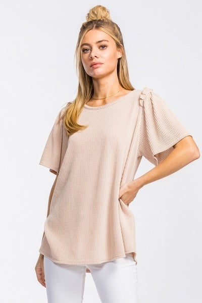 Taupe Small Ruffle Bell Sleeve Top