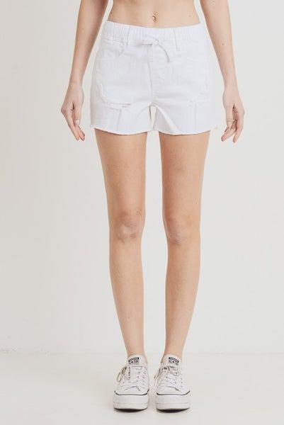 White High Waist Elastic Band Distressed Shorts