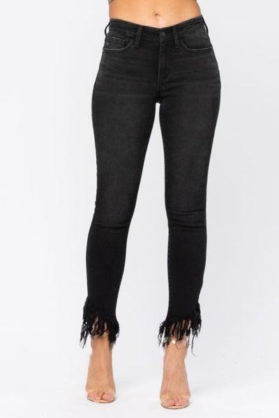Black Midrise Hem Fray Skinny Jean