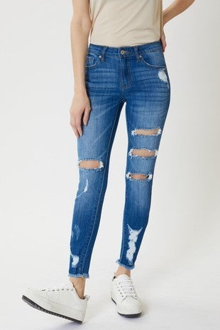 Mid Rise Distressed Super Skinny Jeans *Final Sale*