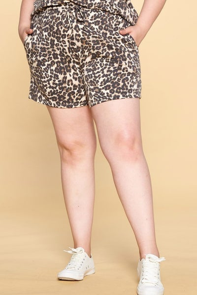 Brown Leopard Print Pocketed Shorts
