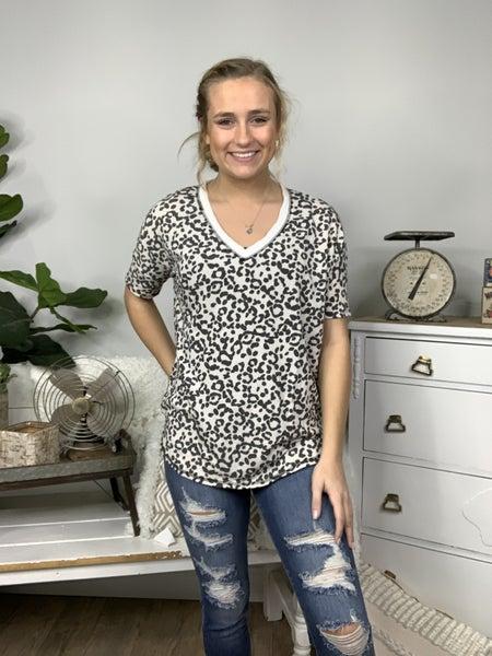 White and Black Short Sleeve Cheetah Print Top *Final Sale*