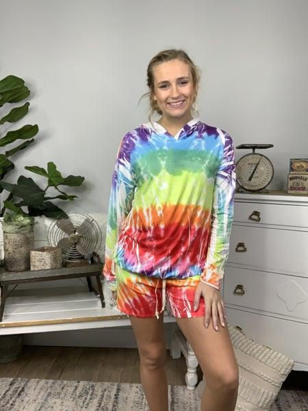 Light Rainbow Tie Dye Lounge Hoodie Top *Final Sale*