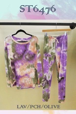 Lavender/Peach/Olive Tie Dye Lounge Top *Final Sale*