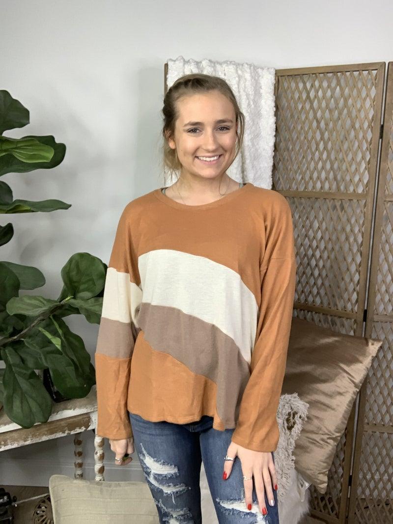 Rust Color Block Long Sleeve Top