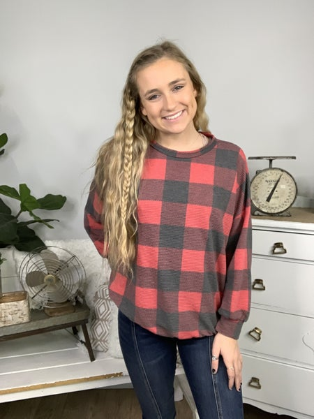 Red and Charcoal Drop Shoulder Plaid Top