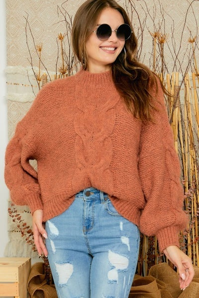 Rust Cable Knit Puffy Sleeve Sweater