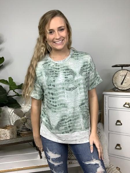 Green Short Sleeve Snake Print Top *Final Sale*